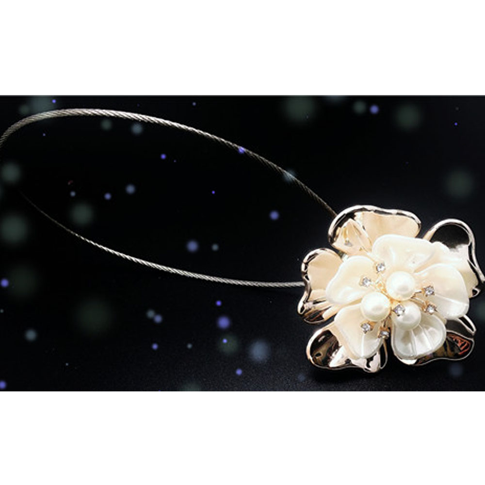 2pcs Beautiful Flower Pearl Magnetic Curtain TieBack Clips Holdbacks Curtain <font><b>Holder</b></font> Buckle Tie Rope for Bedroom Home Decorations
