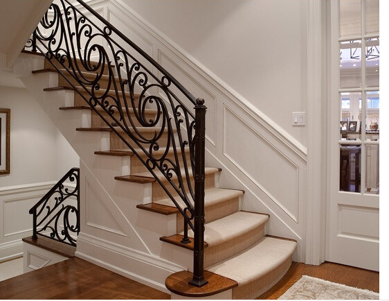 Beau Wrought Iron / Glass/ Steel /PVC Handle Staircase Spiral / Straight /Arc /