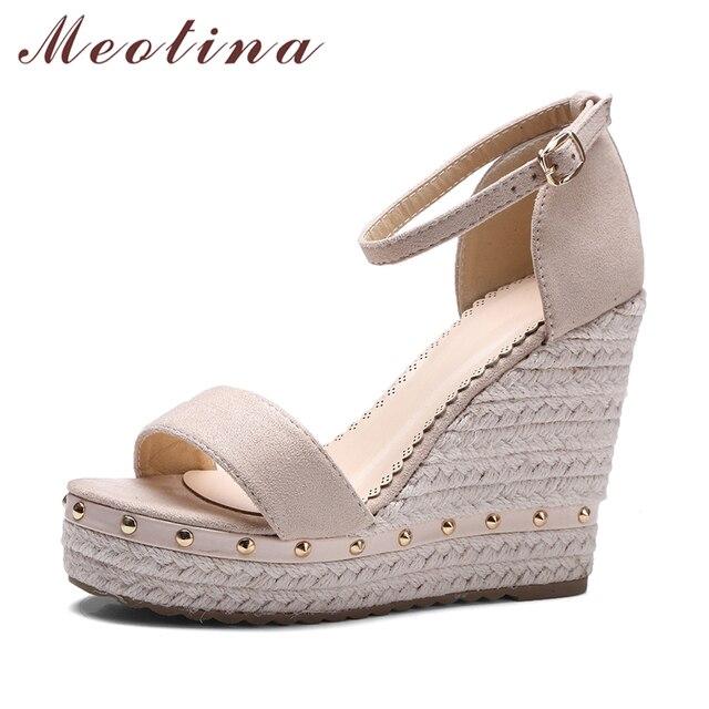 Meotina/Женские босоножки Лето 2018 Босоножки на платформе обувь на высоком каблуке Ремешок на щиколотке женские Сандалии для девочек заклепки Повседневное обувь розовый, черный