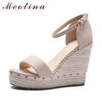 Meotina Women Sandals Summer 2017 Platform Sandals High Heels Shoes Ankle Strap Ladies Sandals Rivet Casual