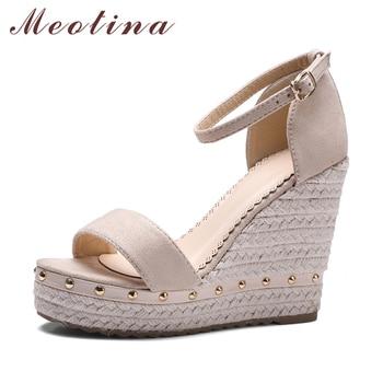 Meotina лета сандалий женщин 2017 сандалии платформы туфли на каблуках лодыжки ремень дамы сандалии заклепки повседневная обувь розовый черный