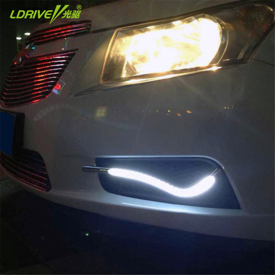2pcs/Set Car LED Daytime running light LED DRL Lamps Double colors white DRL with Yellow turn signal For Chevrolet cruze 2011 qvvcev 2pcs new car led fog lamps 60w 9005 hb3 auto foglight drl headlight daytime running light lamp bulb pure white dc12v