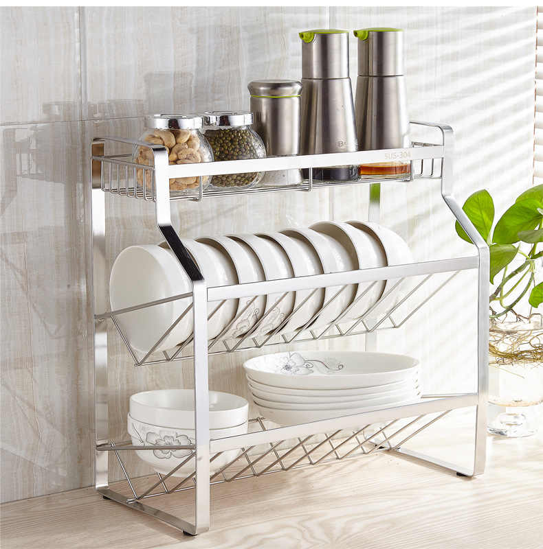 Stainless steel spice rack,Kitchen countertop three-layer condiment storage  rack black or silver oblique bottle rack,save space