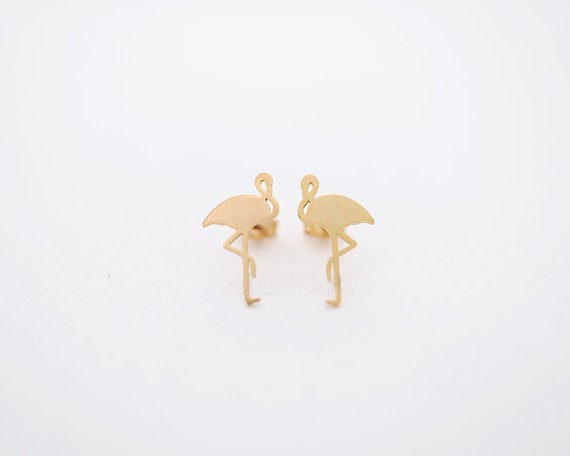 yiustar 2017 New Arrival Cute Animal Earring Flamingo Brass Stud Earrings for Women Girl Birthday Party Jewelry Gifts -S091