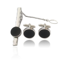 New Luxury Round Shirt Cufflinks  For Mens Brand  Black Gemelos High Quality Jewelry Cuff Buttons Tie Clips Type Set Wholesale все цены
