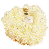 로맨틱 장미 웨딩 호의 심장 모양의 선물 반지 상자 베개 장식 베이