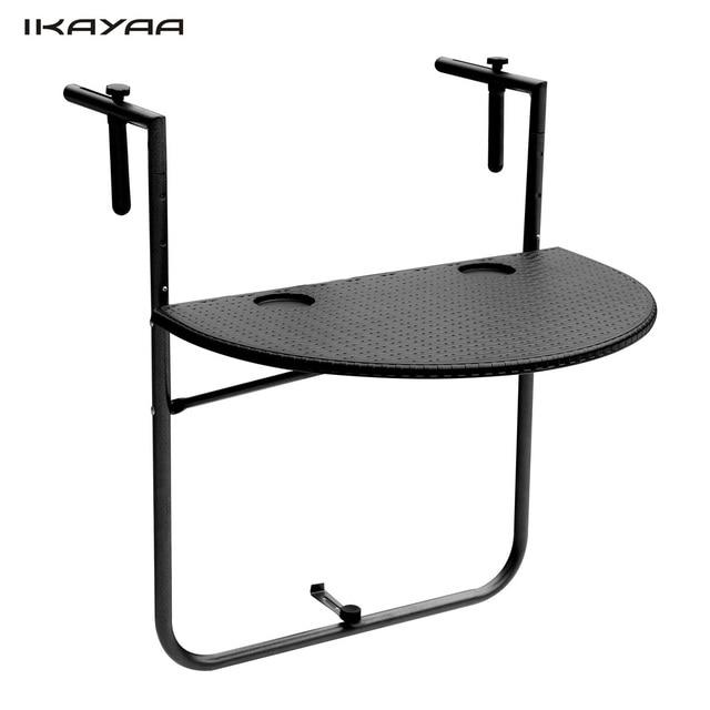 High Quality IKayaa Folding Balcony Deck Table Adjustable Hanging Patio Railing Dining  Table Garden Patio Furniture UK FR