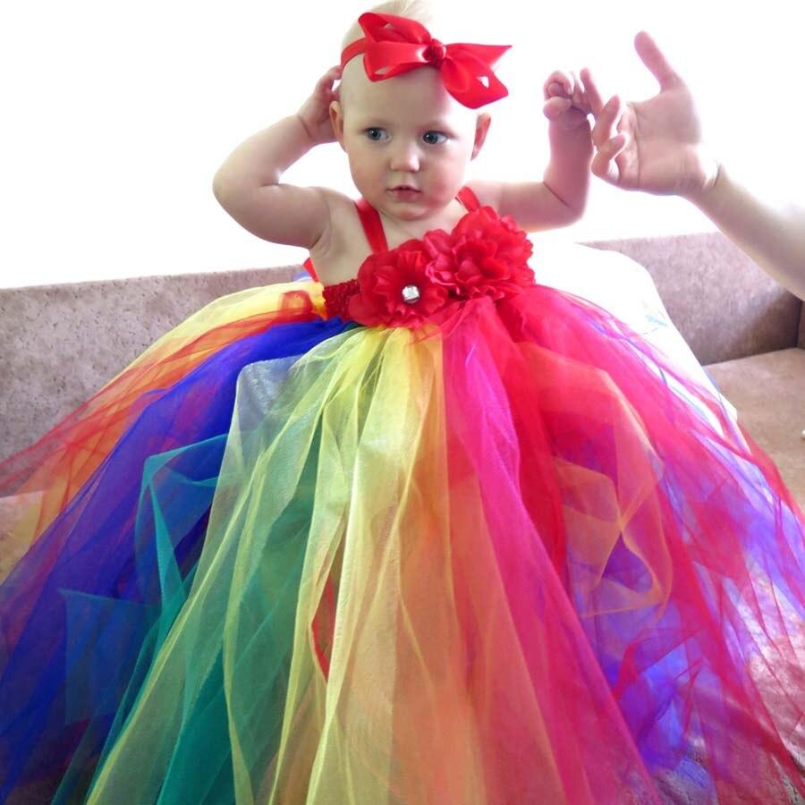 Regenboog tutu jurk met haarelastiekjes voor meisjes kinderen - Kinderkleding