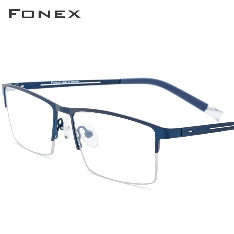 Alloy Glasses Frame Men Half Square Myopia Prescription Eyeglasses 2019 New Arrival Classic Semi Rimless Optical Frames Eyewear
