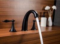New Design Matte Black Color Solid Brass Deck Mounted Bathroom Basin Sink Mixer Tap Basin Faucet