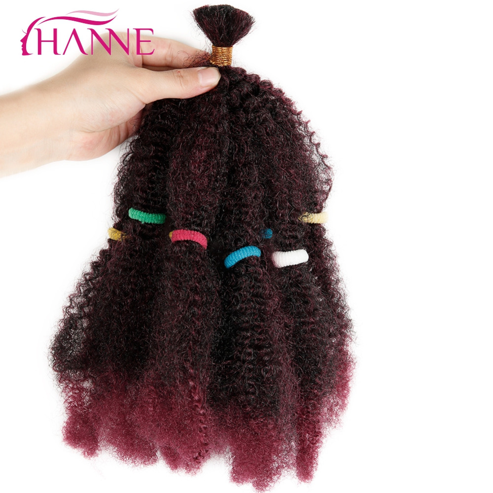 HANNE 2pcs Afro Extensions Bulk Hair Small Kinky Curly 12