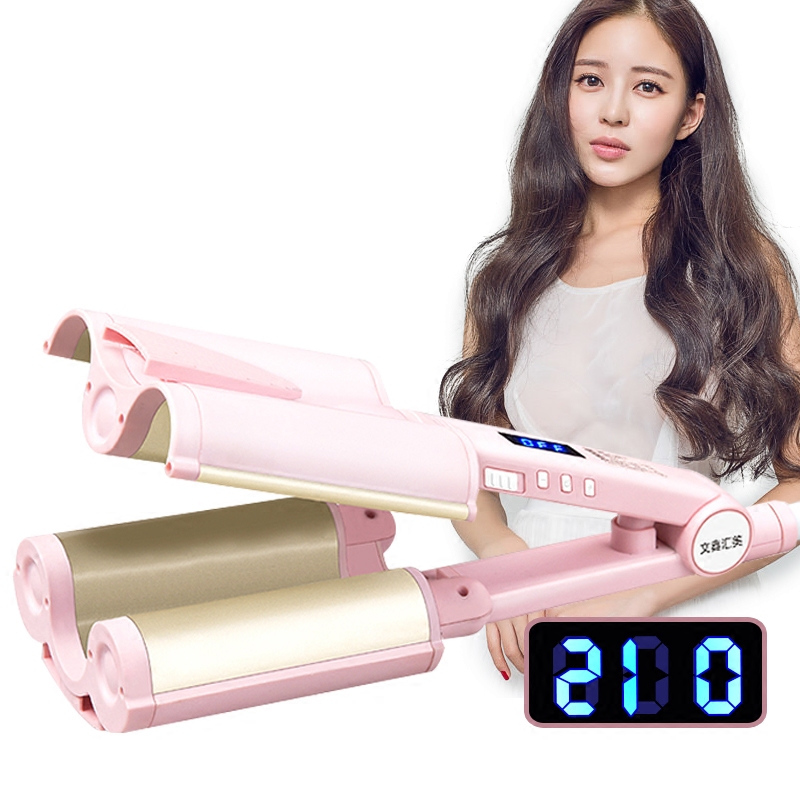 220V Portable LCD Automatic Ceramic Hair Curler 3 Barrels Big Waver Curling Iron Hair Curlers Rollers Styling Tools EU/AU/UK new hair curler steam spray automatic hair curlers digital hair curling iron professional curlers hair styling tools 110 240v