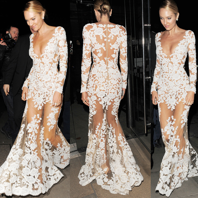 64afd90ab7a 2017 Hot Sell Sexy See Through Long Sleeve Deep V-neck Maxi Lace Celebrity  Party