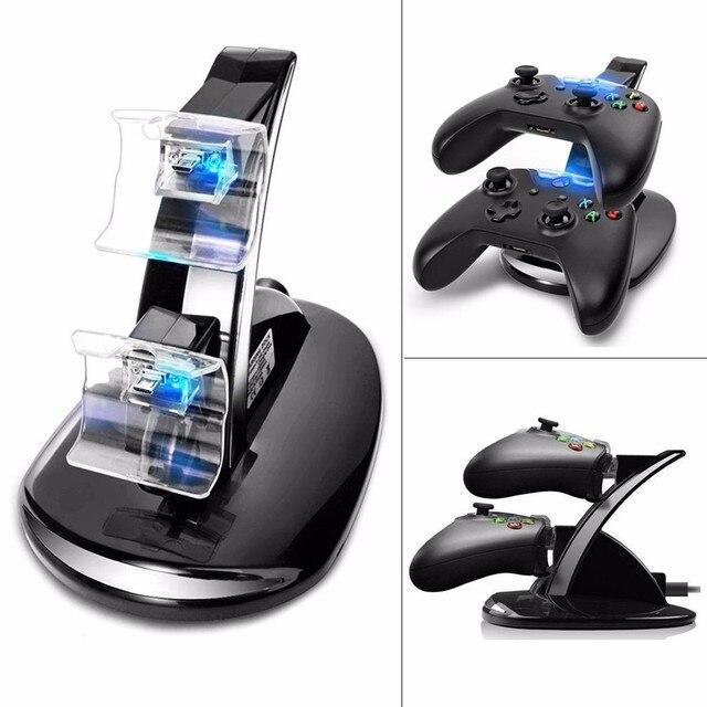 Offre spéciale USB lumière LED double contrôleur chargeur de Station de chargement Dock pour Microsoft Xbox One contrôleurs Gamepad accessoires de jeu