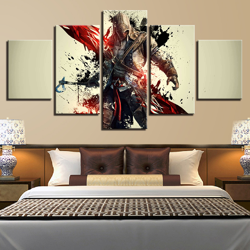HD Prints Canvas Poster Wall Art Livings Room 5 Pieces Assassins Creed Paintings Movie Game Characters Framework Pictures Decor