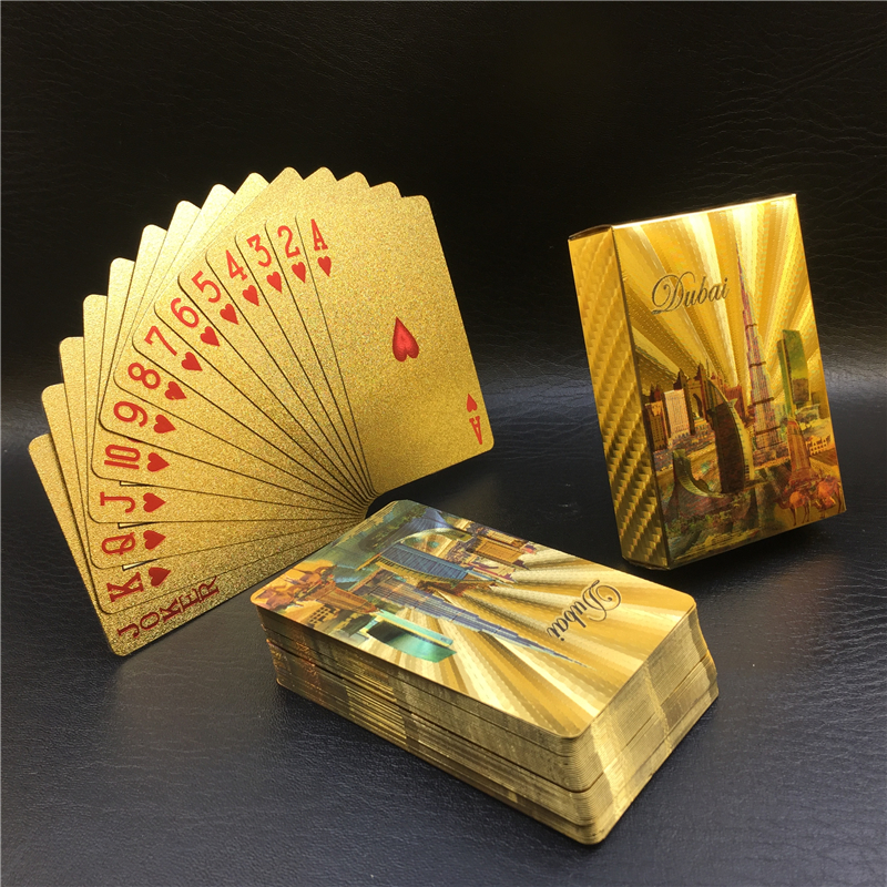 Golden Playing Cards Set Waterproof Plastic Poker Card Classic Magic Tricks Tool Poker Games Gift Poker Wholesale