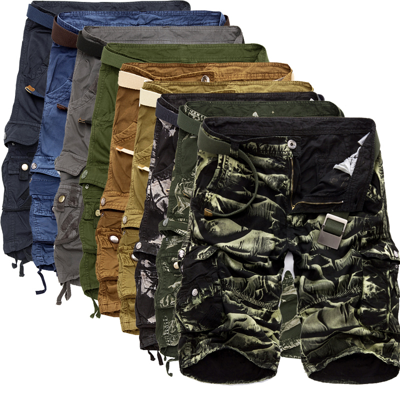 Mens Military Shorts 2020 Summer Camouflage Cargo Shorts Men Cotton Loose Casual Short Pants No Belt
