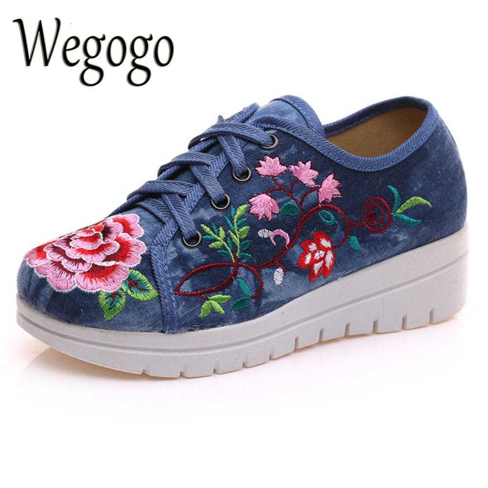 Wegogo Vintage Women Pisos Lona de La Flor Bordado de Encaje Hasta Plataformas d