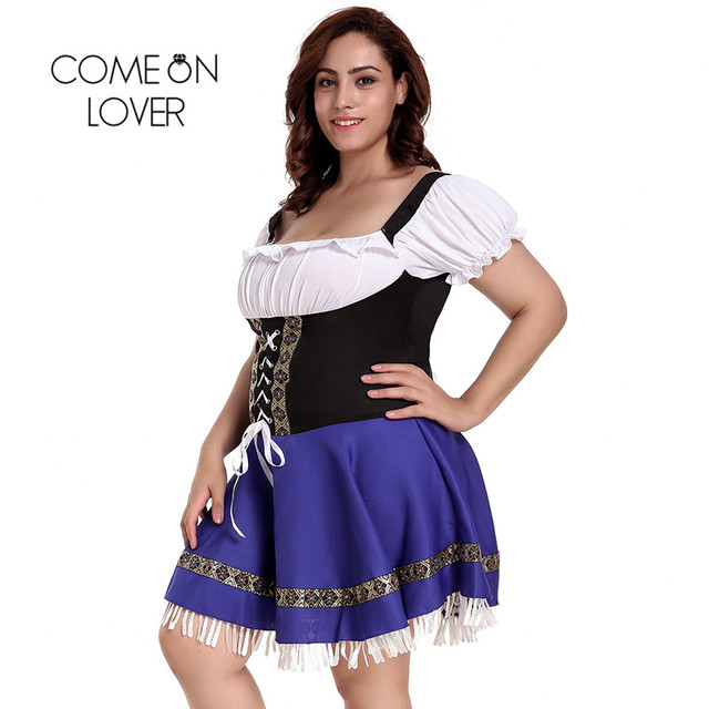 Comeonlover German Beer Girl Costume Dress Plus Size 7XL Maid Lingerie Costume Sexy Femme Cosplay Halloween Fancy Dress CI80705 1