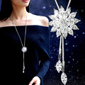 New Zircon Snowflake Long Necklace Sweater Chain Fashion Fine Metal Chain Crystal Rhinestone Flower Pendant Necklaces Adjusted