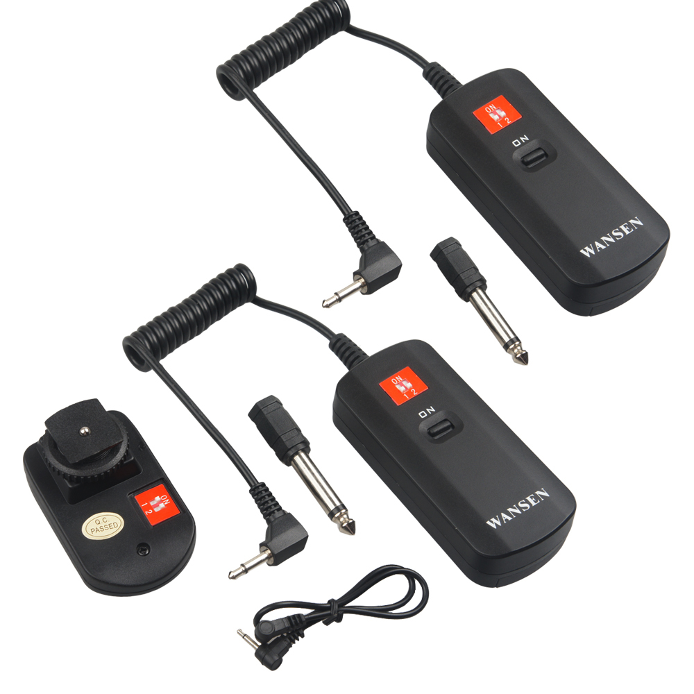 WanSen Universal DC-04 4 Channels Wireless Radio Studio 1 transmitter + 2 receivers Flash Trigger Set for Strobe wansen pt 04gy universal 1 to 3 3 receivers wireless flash trigger for nikon canon black