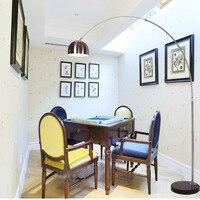 LED Floor Lamps 110v 220v Fishing Modern Floor Lamp E27 Residential Lighting Foot Switch Marble Long Arm Floor Light