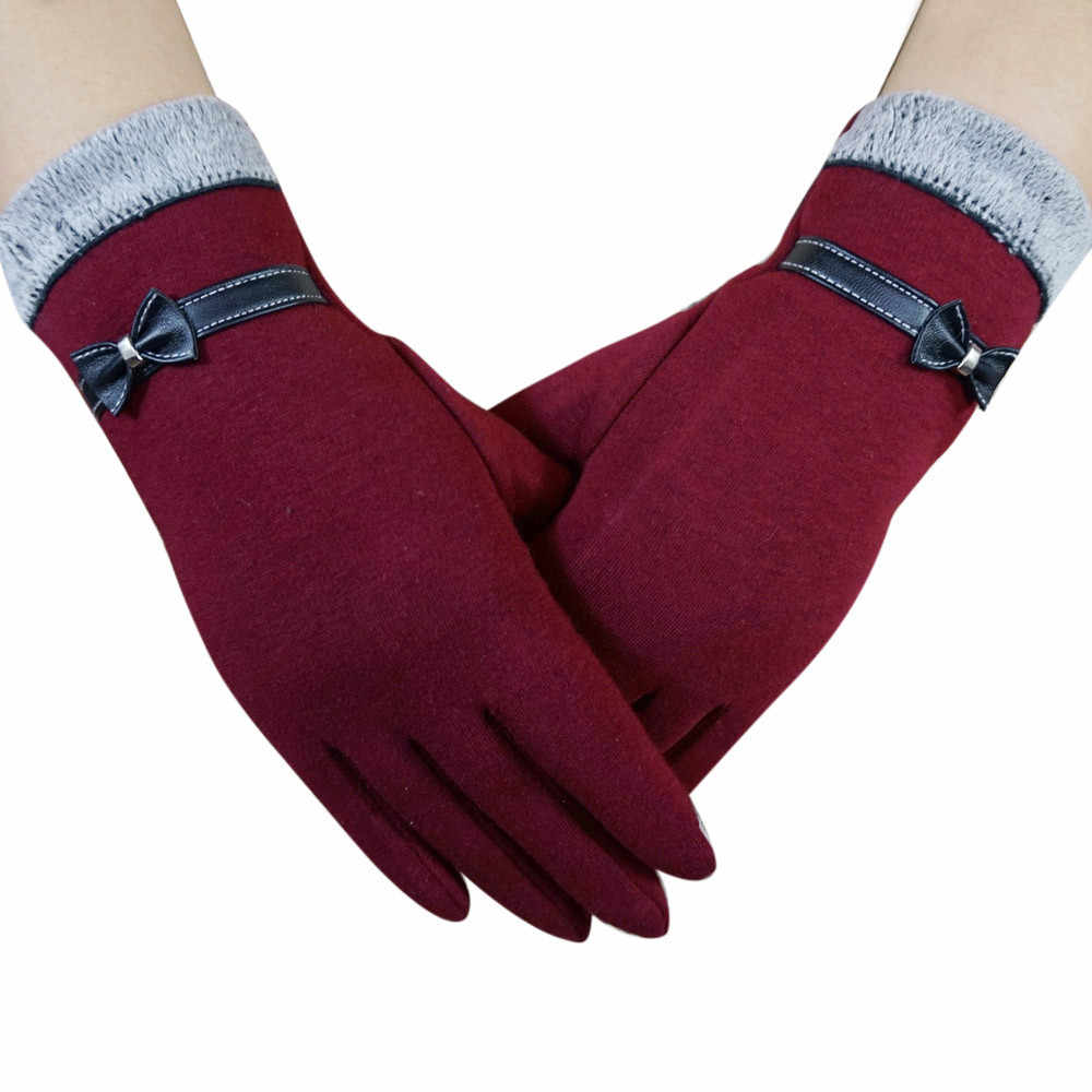 女性冬暖かい弓毛皮付きベルベットドライビングフルフィンガーグローブスクリーン手袋屋外女性モトフィットネス手袋guantes mujer eldiven