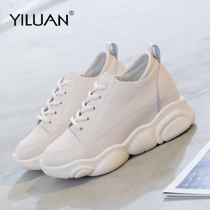 Genuine Leather Small white shoes female Sneakers 2019 spring summer new Increase women s shoes Dad