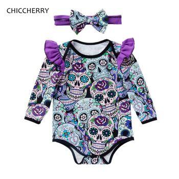 96e85b0a2 Calavera mexicana bebé niña traje de Halloween Bebe mono diadema Tutu  recién nacido conjuntos niños ropa infantil silicona Giyim