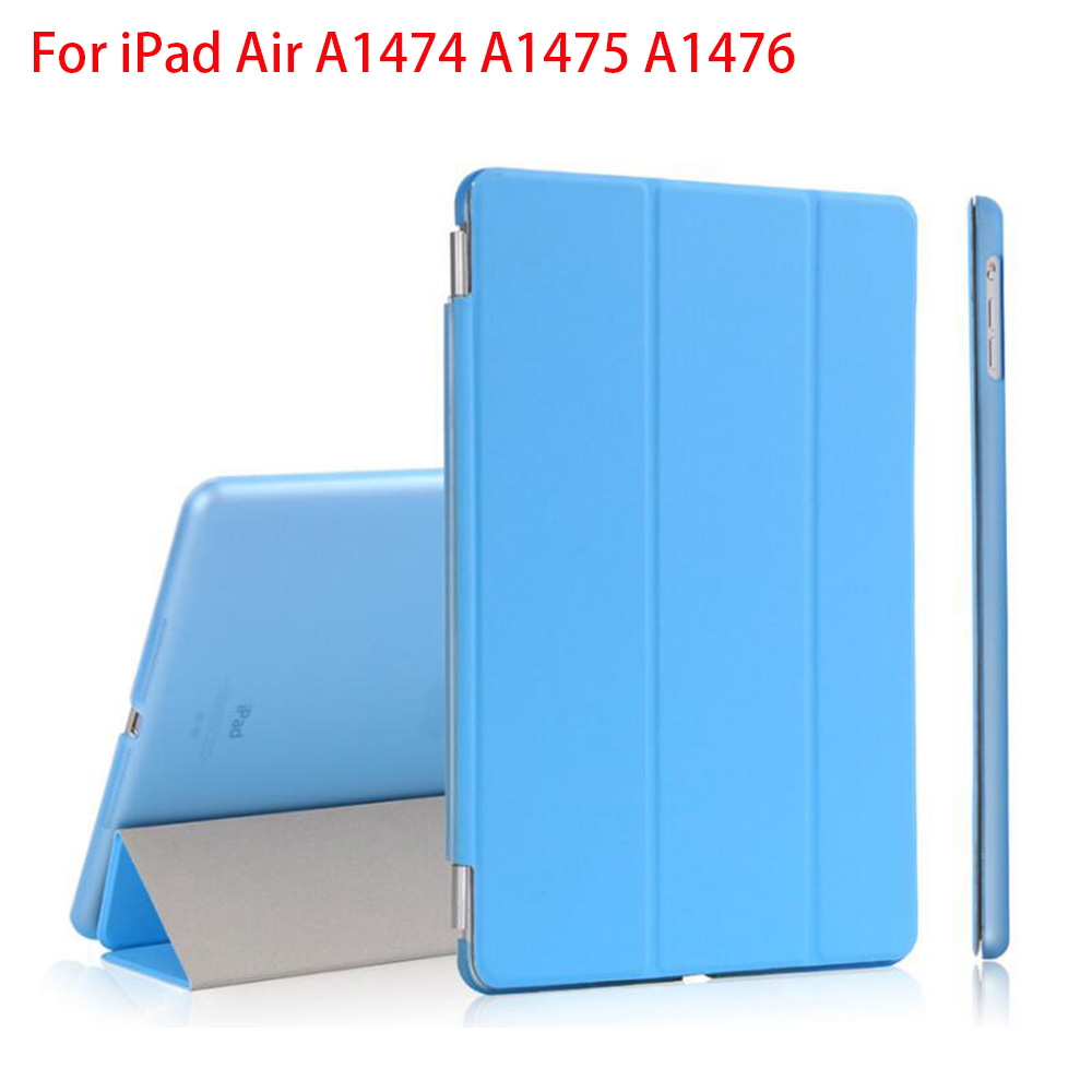 RYGOU Custodia Smart Cover anteriore magnetica in pelle PU per iPad Air Case + Custodia rigida trasparente per iPad Air 1 Custodia tablet Retina 2013