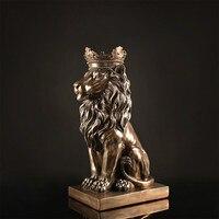 Lion Statue Elegant Design Home Decoration Meng Lion Unique Beast Gift Ornaments Resin Wrapped Copper Crafts