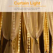 guirlande lumineuse 3*3m 300 LED Window Curtain String Lights Wedding Party Festival LED String Lighting with Remote Control(China)