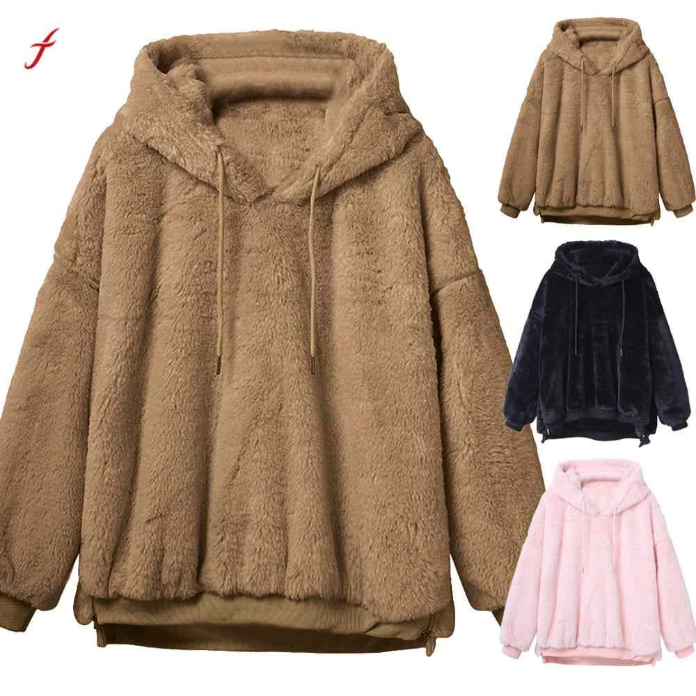 2018 Faux Pelz Mäntel Frauen Winter Warm Fluffy Mantel Fleece Pelz Oberbekleidung Hoodies Sweatshirt Solid Warme Mantel Für Frauen/ PT