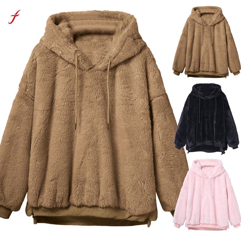 2020 Faux Fur Coats Womens Winter Warm Fluffy Coat Fleece Fur Outerwear Hoodies Sweatshirt Solid Warm Coat For Women /PT