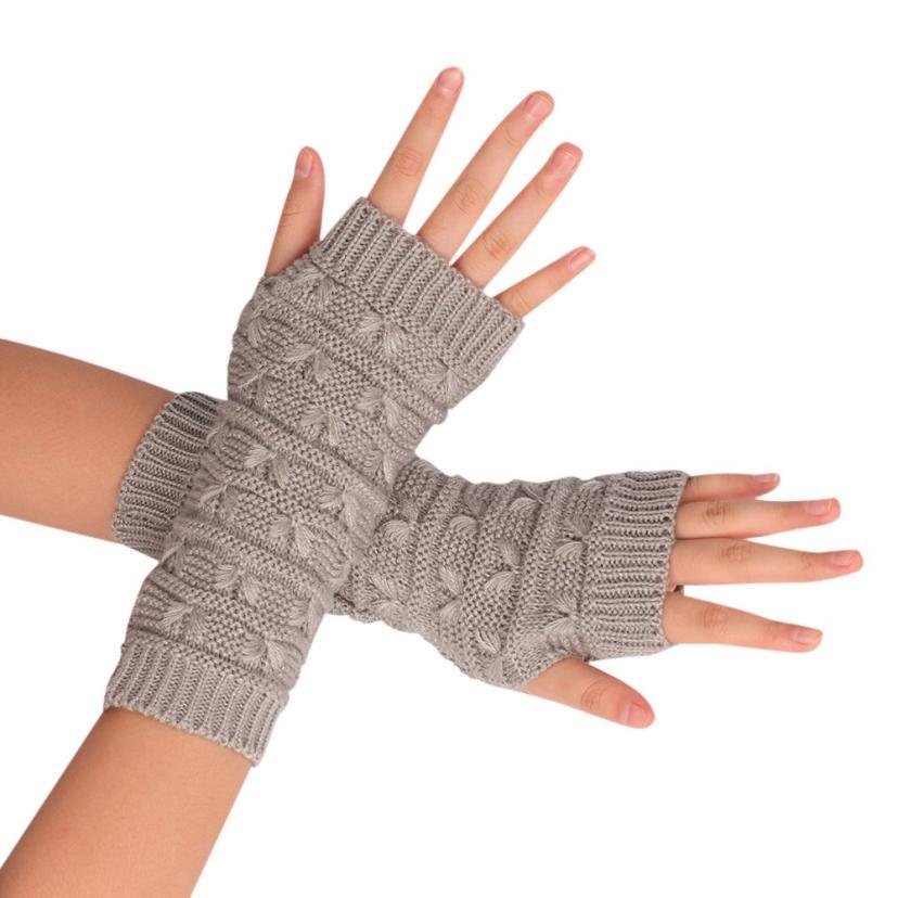 2019 #  Fashion Knitted Arm Fingerless Winter Gloves Unisex Soft Warm Mitten