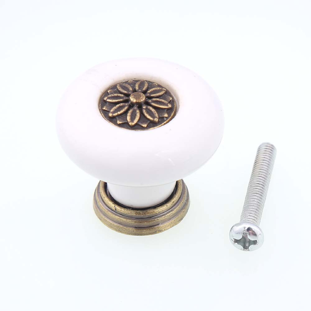 antique brass door handles. 74mm Knob With Backplate Drawer Cabinet Knobs Pulls Bronze Dresser Door Handles White Ceramic Antique Brass Furniture Handles-in From Home I