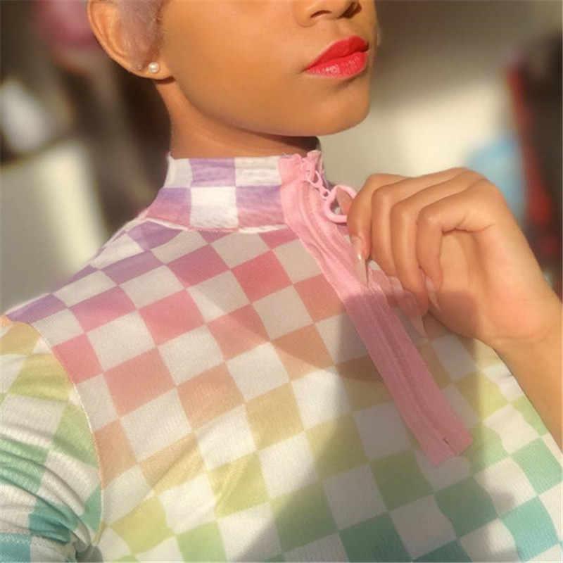 Женская укороченная клетчатая футболка на молнии спереди водолазка с коротким рукавом облегающая уличная футболка летние сексуальные клетчатые кроп Топы