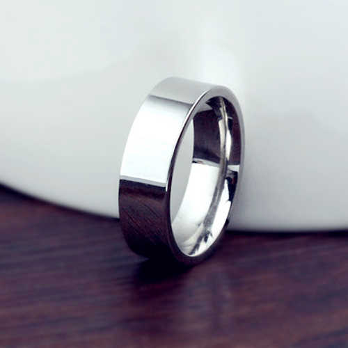 6MM Titanium Band Brushed Wedding 18KGP Stainless Steel Solid Ring Men Women