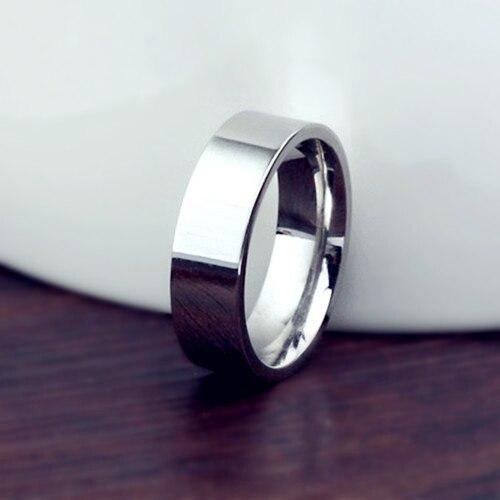 6mm Titan Band Gebürstet Hochzeit 18kgp Edelstahl Solide Ring Männer Frauen