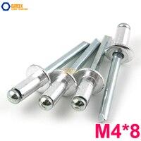 100 Pieces M4*8 Aluminum Blind Rivet Pop Rivet Dome Head Open End