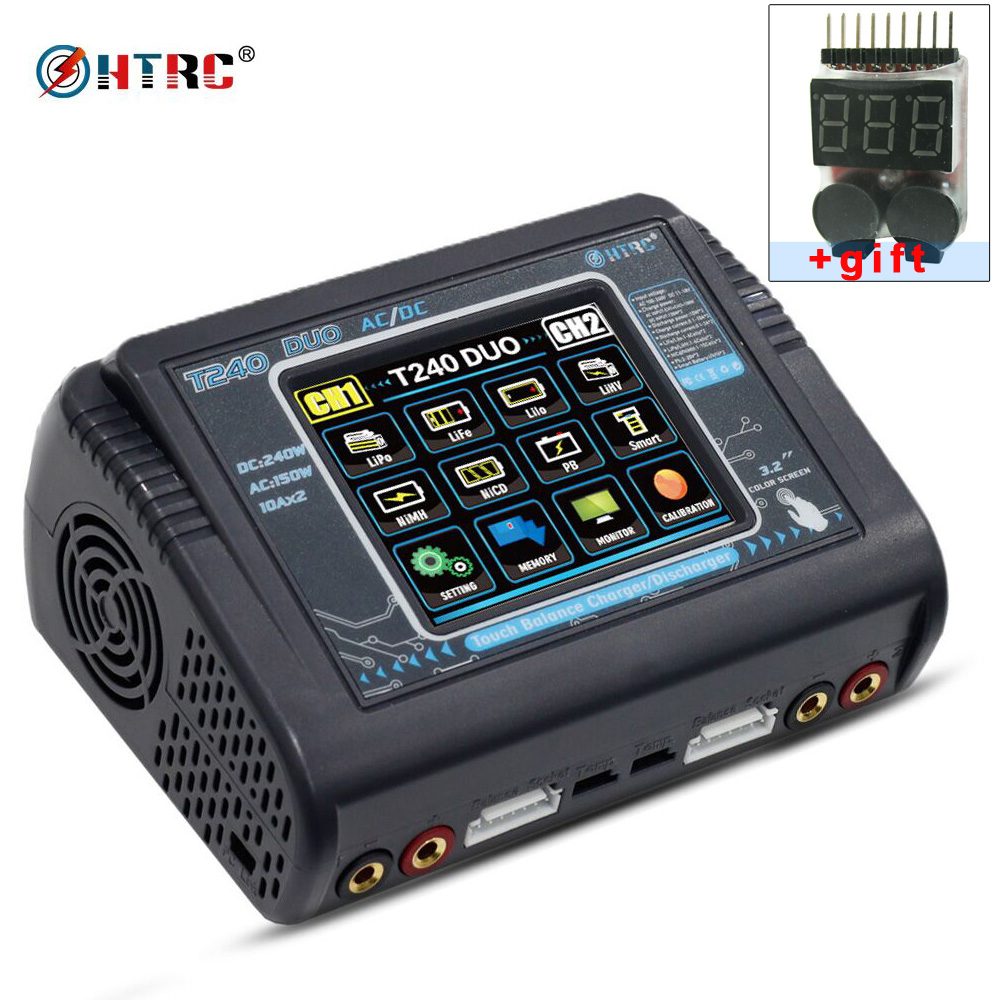 HTRC T240 DUO AC 150W /DC 240W Touch screen Dual Balance Charger discharger for RC Battery LiPo LiHV LiFe Lilon NiCd NiMh Pb все цены
