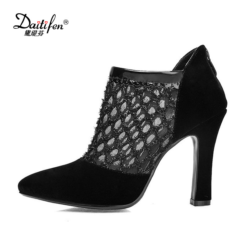 2017 Women Spring Sexy Pumps Cut Out Flock And Mesh Bling Super High Square Thick Heels Pointed Toe Ladies Short Boots Shoes new 2017 spring summer women shoes pointed toe high quality brand fashion womens flats ladies plus size 41 sweet flock t179