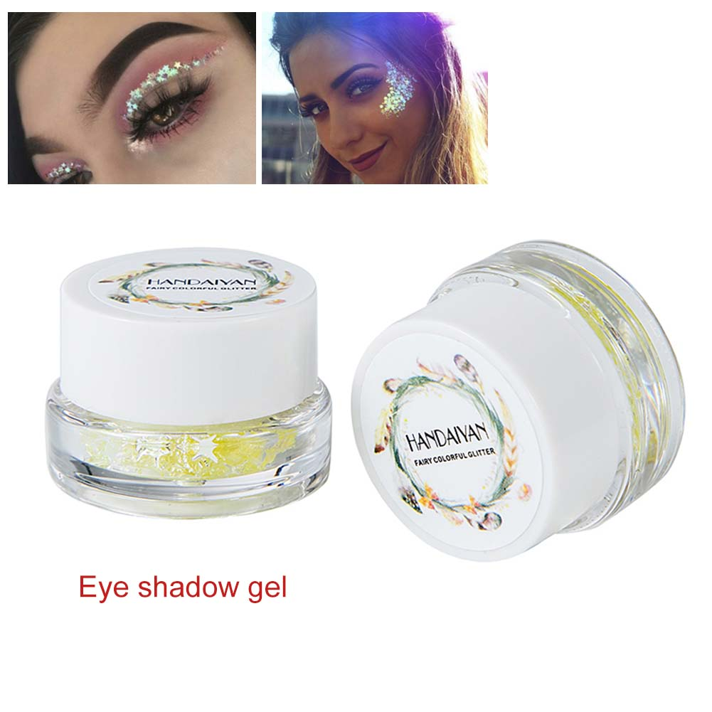 Eye Shadow 1 Bottle Mermaid Sequins Gel Glitter Eyeshadow Fashion Eyes Makeup Cosmetic Mixed Paillette Universal Face Body Hair Glitter Gel Beauty Essentials