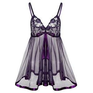 Женское сексуальное нижнее белье размера плюс, кружевной прозрачный бюстгальтер с вышивкой, фиолетовое платье с большим бантом и g-стринги, ...