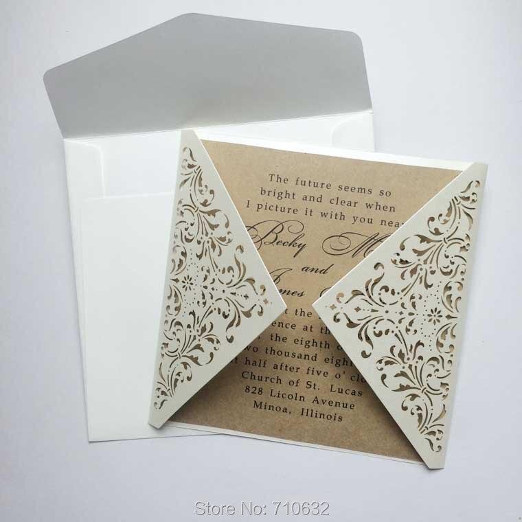 elegant and vintage square gate fold laser cut wedding invitations