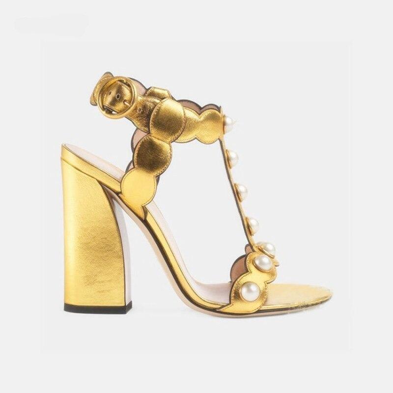 Bloc Métallique En Chaussures Mujer T Pic Or As Sandalias Femmes D'été Et Sandales Pic bracelet 2018 Mode Haute Talons Cuir Noir Pompes as vOmNy8n0w