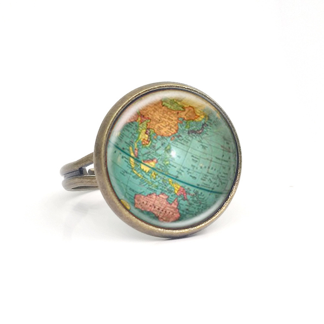 World map ring vintage maps rings statement ring world map antique vintage globe ring planet earth world map art free gumiabroncs Image collections