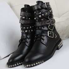 2016 New Fashion Women Winter Motorcycle Martin Boots Rivets Studded military Boots Lace Up Ankle Boots Gothic Punk Shoes Women