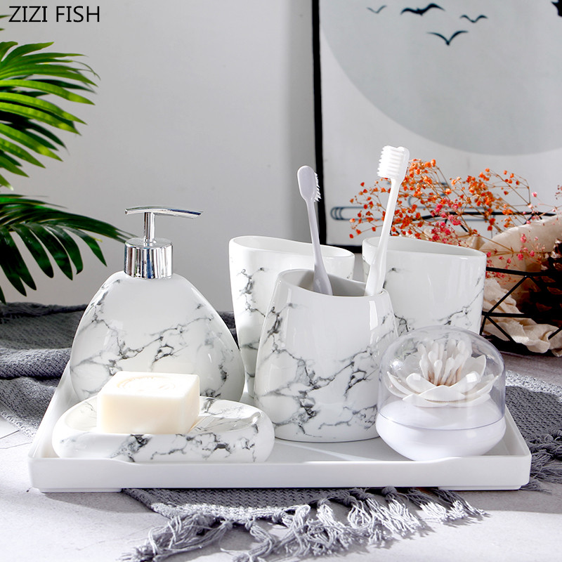 6pcs set Imitation marble ceramics Bathroom Accessories Set Soap Dispenser Toothbrush Holder Tumbler Soap Dish Bathroom