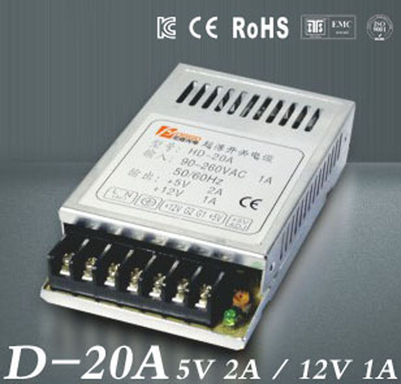 5V2A 12V1A Ultra mince double sortie alimentation pour LED light Strip SMPS 85 V - 264 V AC entree 5 V 12 V sortieD-20A5V2A 12V1A Ultra mince double sortie alimentation pour LED light Strip SMPS 85 V - 264 V AC entree 5 V 12 V sortieD-20A